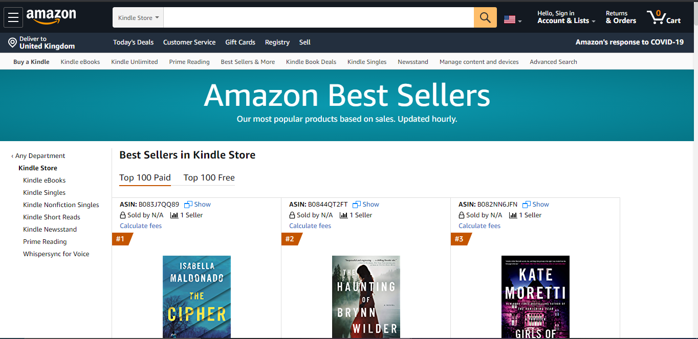 Amazon Kindle Best Sellers List in 2020 for inspiration.