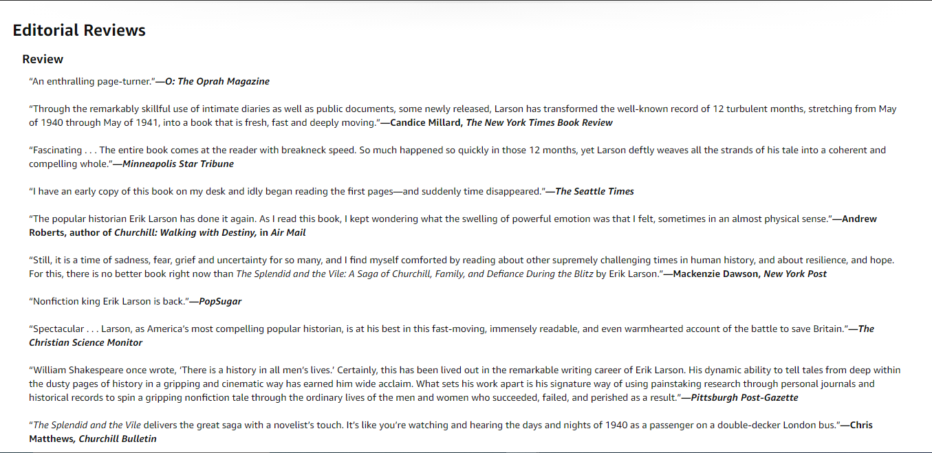 Don't forget about review snippets when writing your Kindle book listing description.